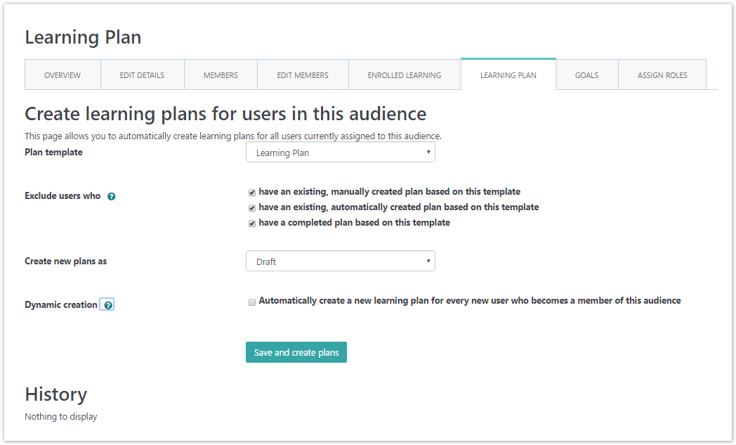 Create a learning plan in an audience