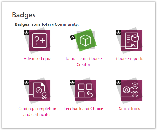 Badges on the user profile.
