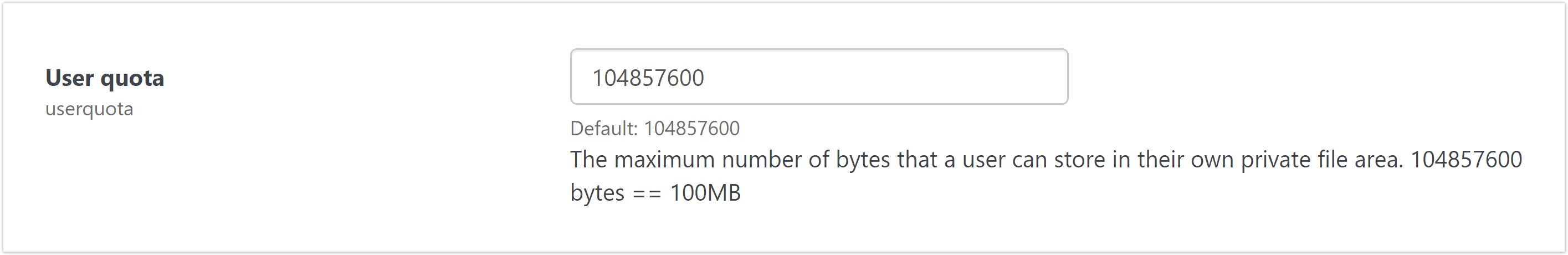 The user quota setting for limiting private file size.