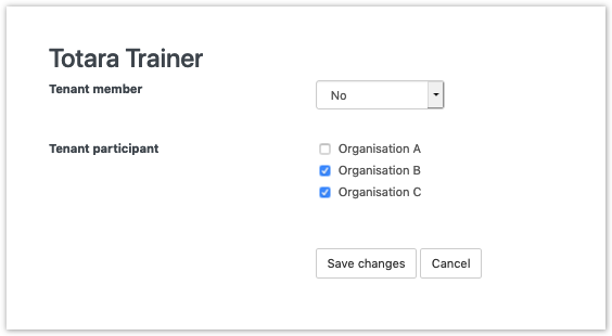 Assigning tenant roles to a trainer.