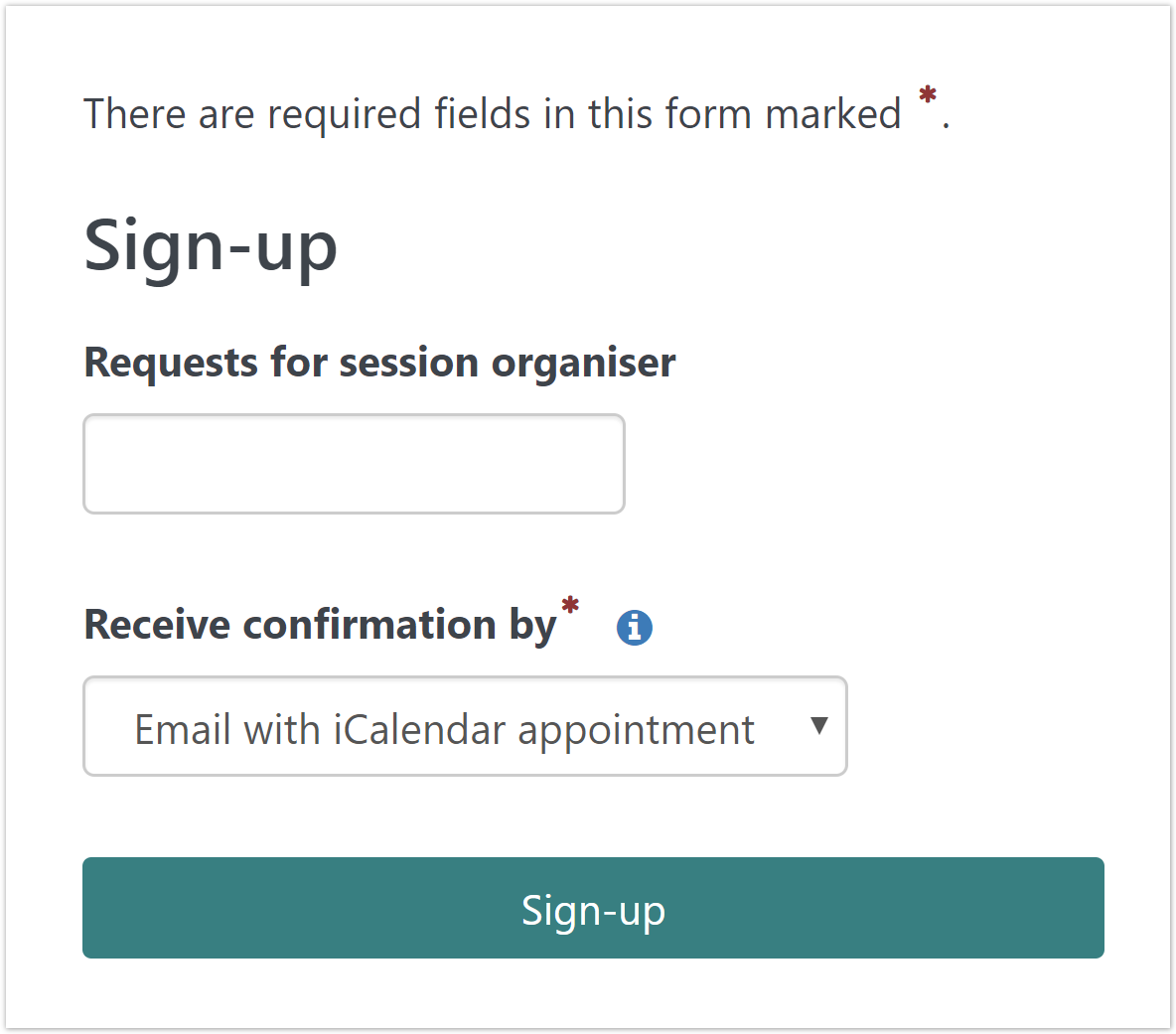 The sign-up card on a seminar event page.