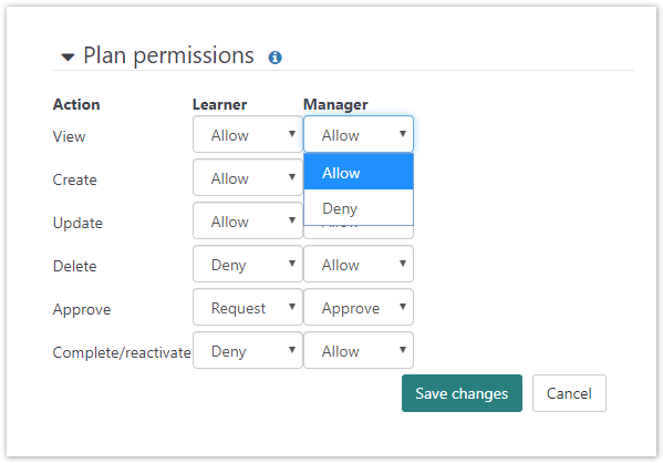 Editing learning plan permissions.