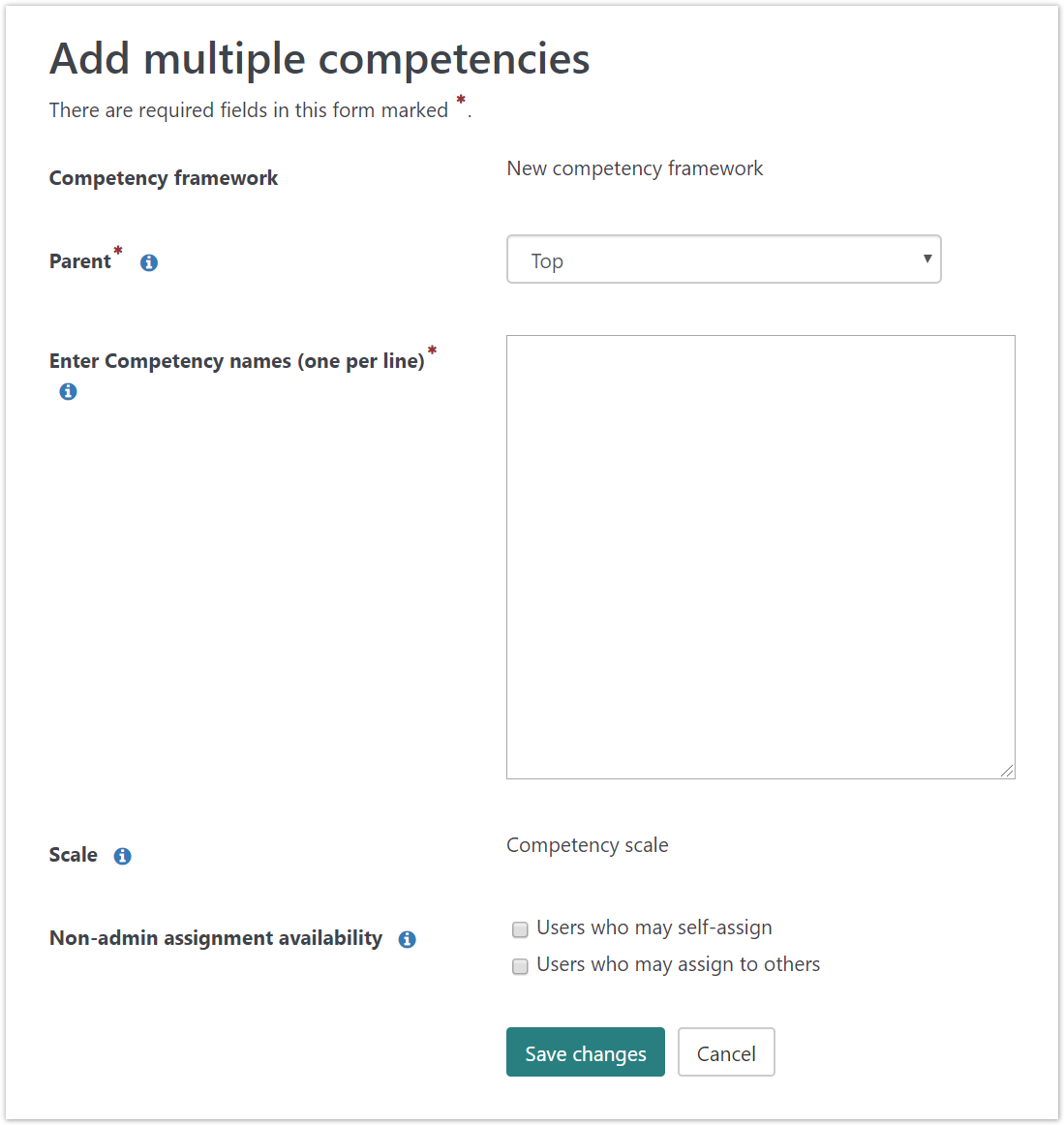 Bulk adding competency items.
