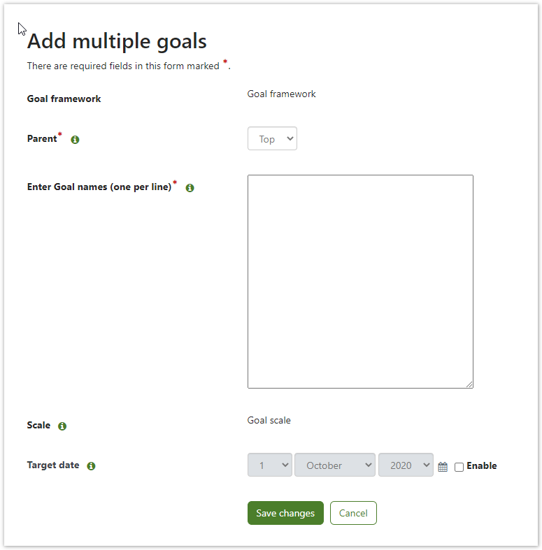 Example of the bulk add goals screen.